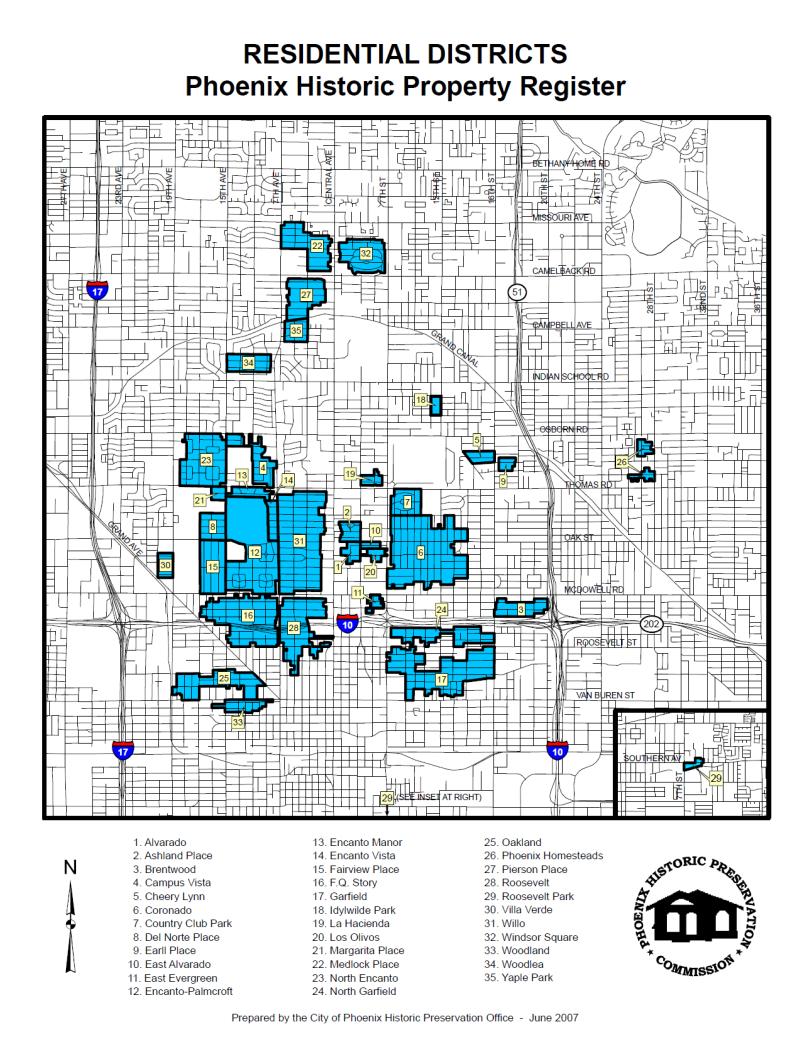 Phoenix Historic Districts Map